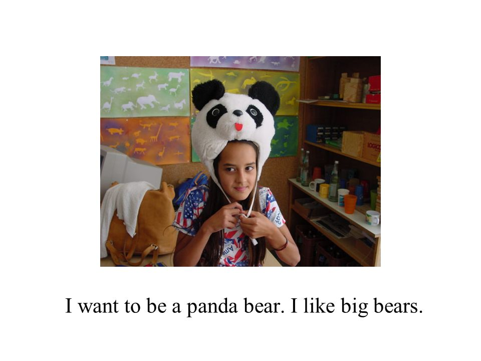 I want to be a panda bear. I like big bears.