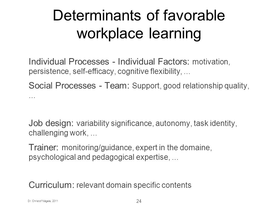 Dr. Christof Nägele, 2011 24 Determinants of favorable workplace learning Individual Processes - Individual Factors: motivation, persistence, self-eff