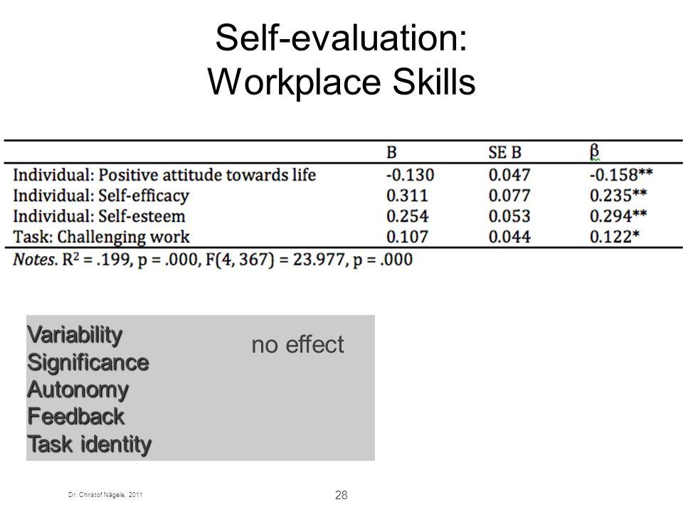 Dr. Christof Nägele, 2011 28 Self-evaluation: Workplace Skills VariabilitySignificanceAutonomyFeedback Task identity no effect