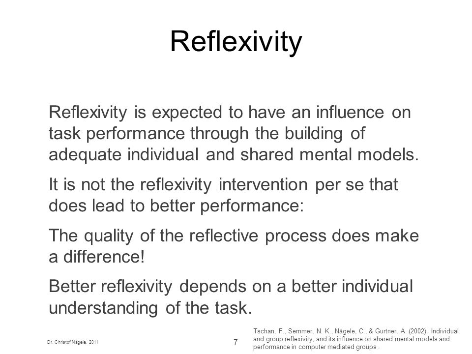 Dr. Christof Nägele, 2011 7 Reflexivity Reflexivity is expected to have an influence on task performance through the building of adequate individual a