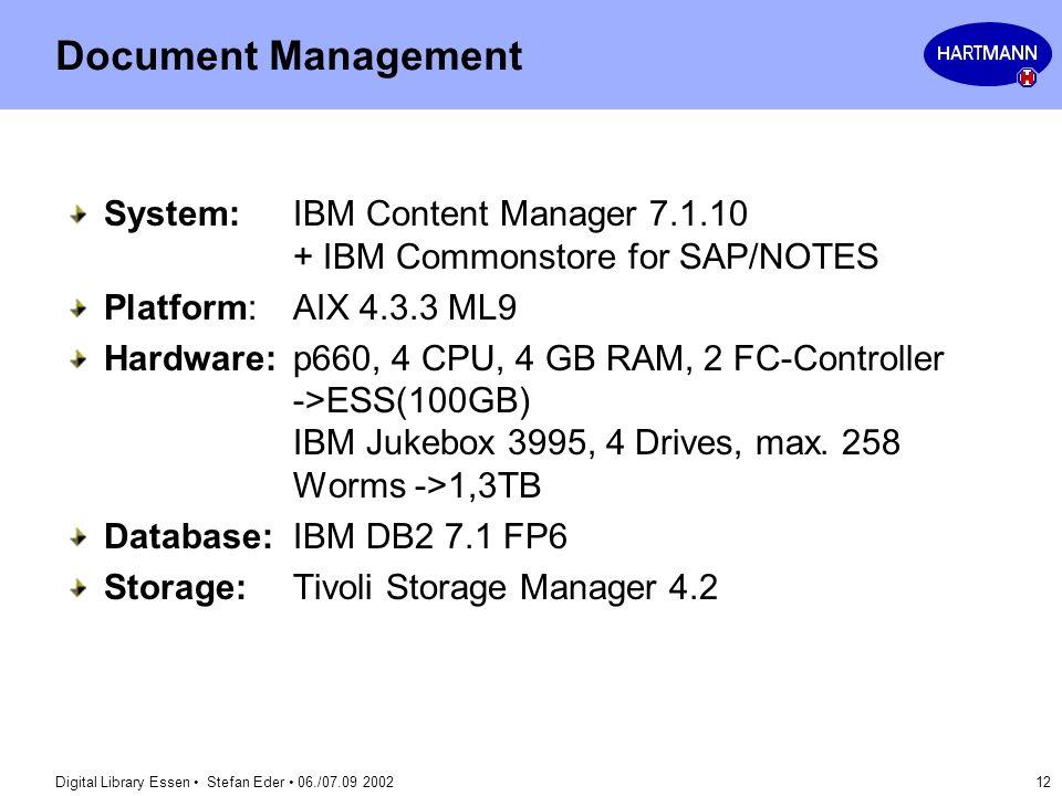 Digital Library Essen Stefan Eder 06./07.09 2002 12 Document Management System:IBM Content Manager 7.1.10 + IBM Commonstore for SAP/NOTES Platform:AIX