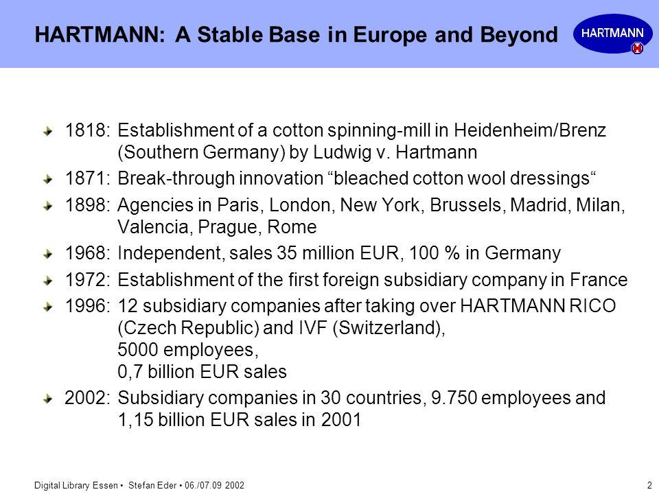 Digital Library Essen Stefan Eder 06./07.09 2002 2 HARTMANN: A Stable Base in Europe and Beyond 1818:Establishment of a cotton spinning-mill in Heiden