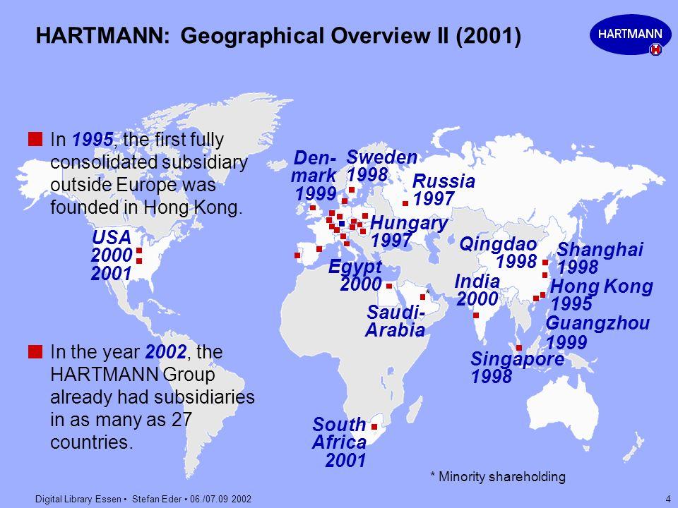 Digital Library Essen Stefan Eder 06./07.09 2002 4 HARTMANN: Geographical Overview II (2001) Hong Kong 1995 Egypt 2000 Singapore 1998 Shanghai 1998 US