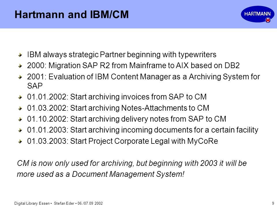 Digital Library Essen Stefan Eder 06./07.09 2002 9 Hartmann and IBM/CM IBM always strategic Partner beginning with typewriters 2000: Migration SAP R2