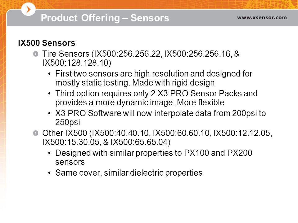 IX500 Sensors Tire Sensors (IX500:256.256.22, IX500:256.256.16, & IX500:128.128.10) First two sensors are high resolution and designed for mostly stat