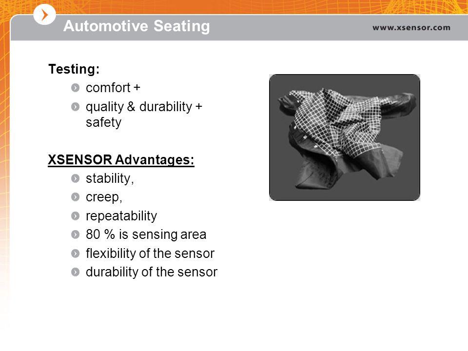 Automotive Seating Testing: comfort + quality & durability + safety XSENSOR Advantages: stability, creep, repeatability 80 % is sensing area flexibili