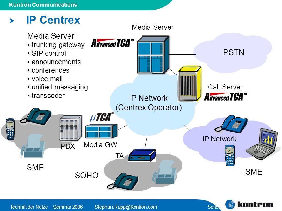 Presentation Title Kontron Communications Technik der Netze – Seminar 2006Stephan.Rupp@Kontron.com Seite 10 IP Centrex PBX IP Network (Centrex Operato