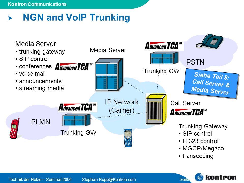 Presentation Title Kontron Communications Technik der Netze – Seminar 2006Stephan.Rupp@Kontron.com Seite 11 NGN and VoIP Trunking IP Network (Carrier)