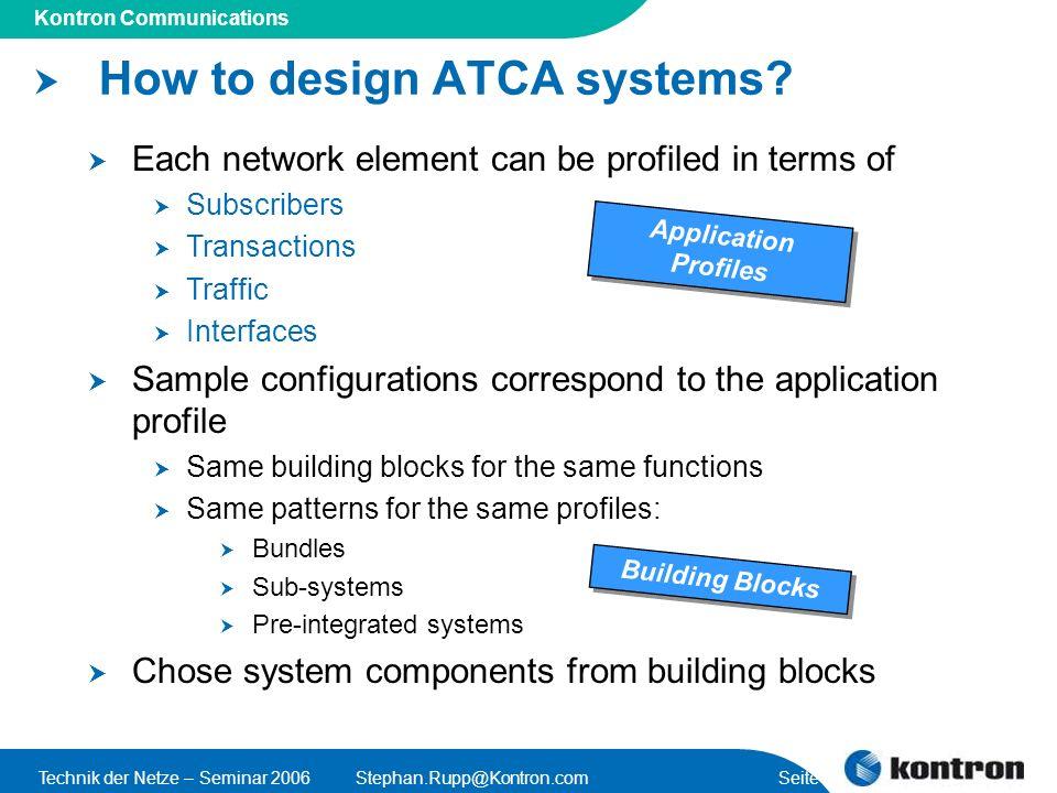 Presentation Title Kontron Communications Technik der Netze – Seminar 2006Stephan.Rupp@Kontron.com Seite 17 How to design ATCA systems? Each network e