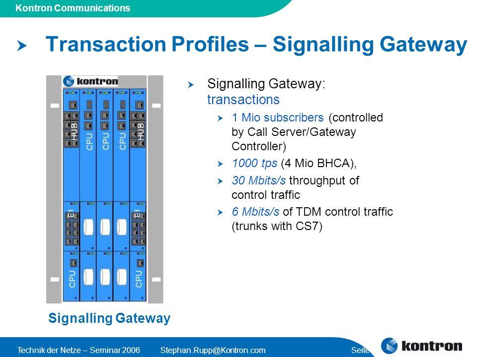 Presentation Title Kontron Communications Technik der Netze – Seminar 2006Stephan.Rupp@Kontron.com Seite 32 Transaction Profiles – Signalling Gateway