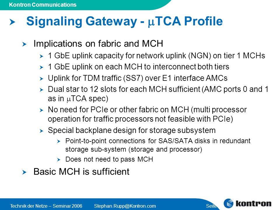 Presentation Title Kontron Communications Technik der Netze – Seminar 2006Stephan.Rupp@Kontron.com Seite 34 Signaling Gateway - TCA Profile Implicatio