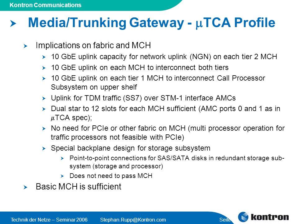 Presentation Title Kontron Communications Technik der Netze – Seminar 2006Stephan.Rupp@Kontron.com Seite 42 Media/Trunking Gateway - TCA Profile Impli
