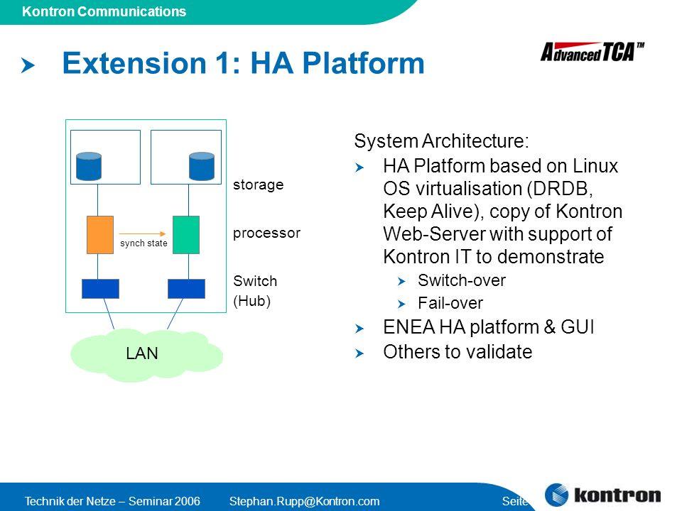 Presentation Title Kontron Communications Technik der Netze – Seminar 2006Stephan.Rupp@Kontron.com Seite 49 Extension 1: HA Platform processor storage
