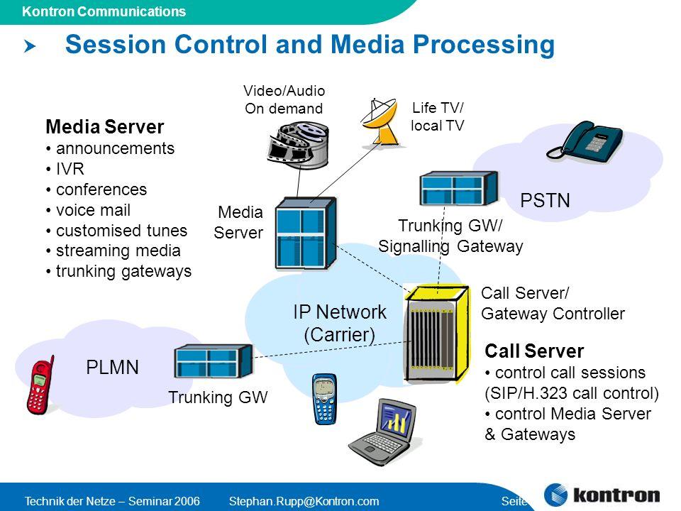 Presentation Title Kontron Communications Technik der Netze – Seminar 2006Stephan.Rupp@Kontron.com Seite 5 Session Control and Media Processing IP Net