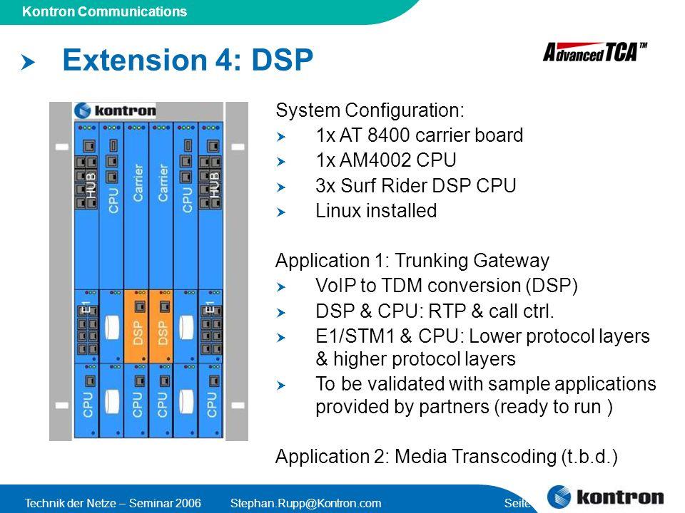 Presentation Title Kontron Communications Technik der Netze – Seminar 2006Stephan.Rupp@Kontron.com Seite 52 Extension 4: DSP System Configuration: 1x