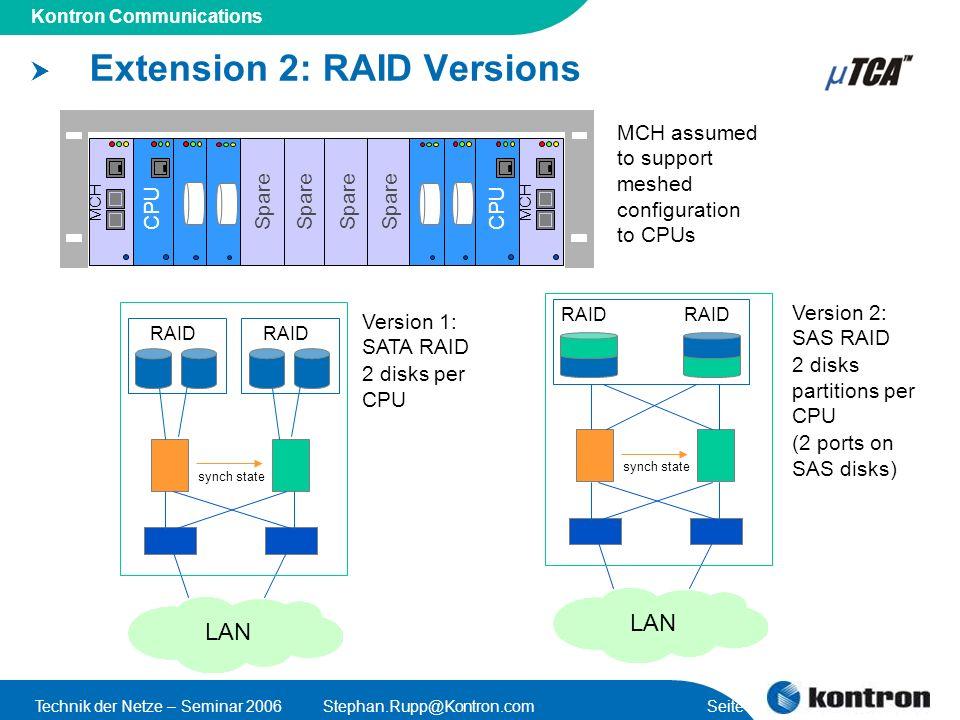 Presentation Title Kontron Communications Technik der Netze – Seminar 2006Stephan.Rupp@Kontron.com Seite 56 Extension 2: RAID Versions CPU MCH Spare C