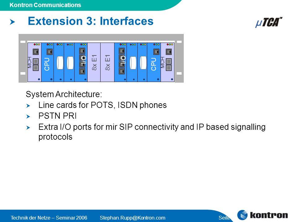 Presentation Title Kontron Communications Technik der Netze – Seminar 2006Stephan.Rupp@Kontron.com Seite 57 Extension 3: Interfaces I/O 8x E1 System A