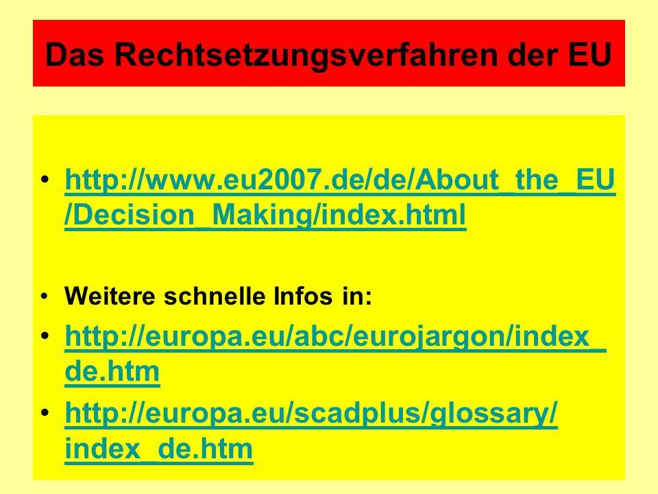 Das Rechtsetzungsverfahren der EU http://www.eu2007.de/de/About_the_EU /Decision_Making/index.htmlhttp://www.eu2007.de/de/About_the_EU /Decision_Makin