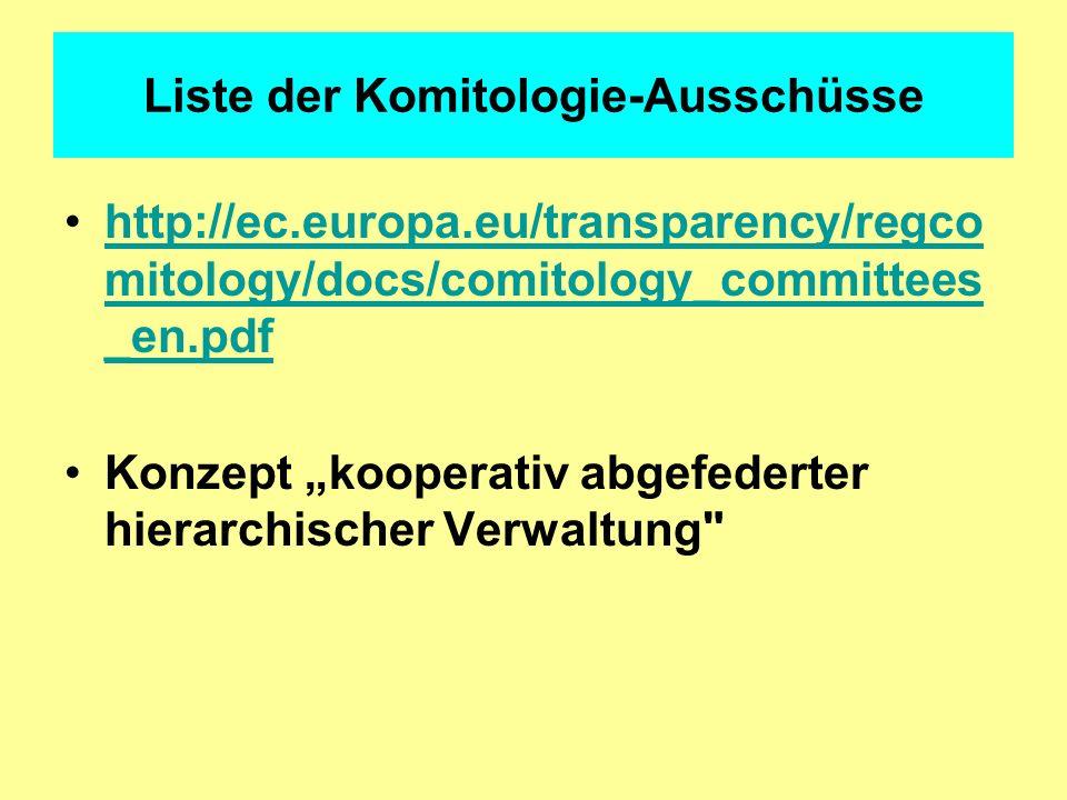 Liste der Komitologie-Ausschüsse http://ec.europa.eu/transparency/regco mitology/docs/comitology_committees _en.pdfhttp://ec.europa.eu/transparency/re