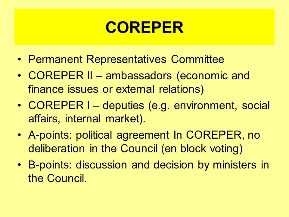 COREPER Permanent Representatives Committee COREPER II – ambassadors (economic and finance issues or external relations) COREPER I – deputies (e.g. en