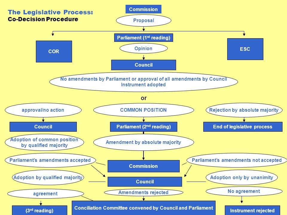 The Legislative Process: Co-Decision Procedure Commission Proposal Parliament (1 st reading) Opinion Council No amendments by Parliament or approval o