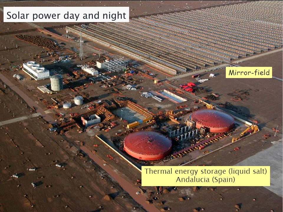 Solar power day and night Thermal energy storage (liquid salt) Andalucia (Spain) Mirror-field
