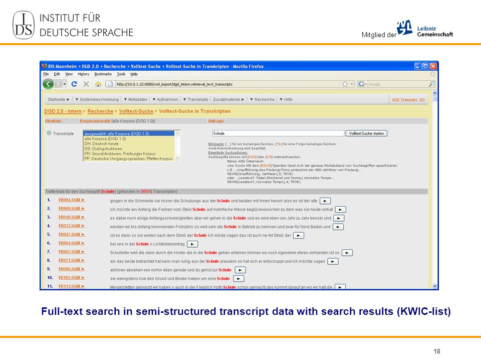 Mitglied der 18 Full-text search in semi-structured transcript data with search results (KWIC-list)