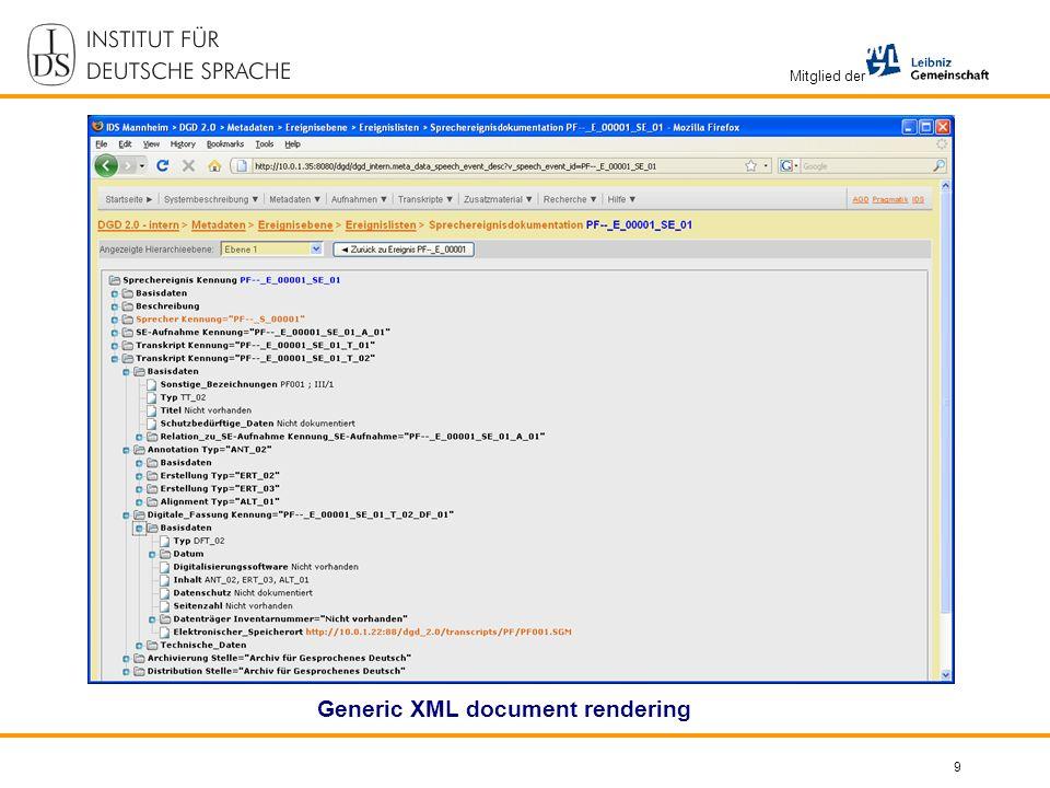 Mitglied der 9 Generic XML document rendering