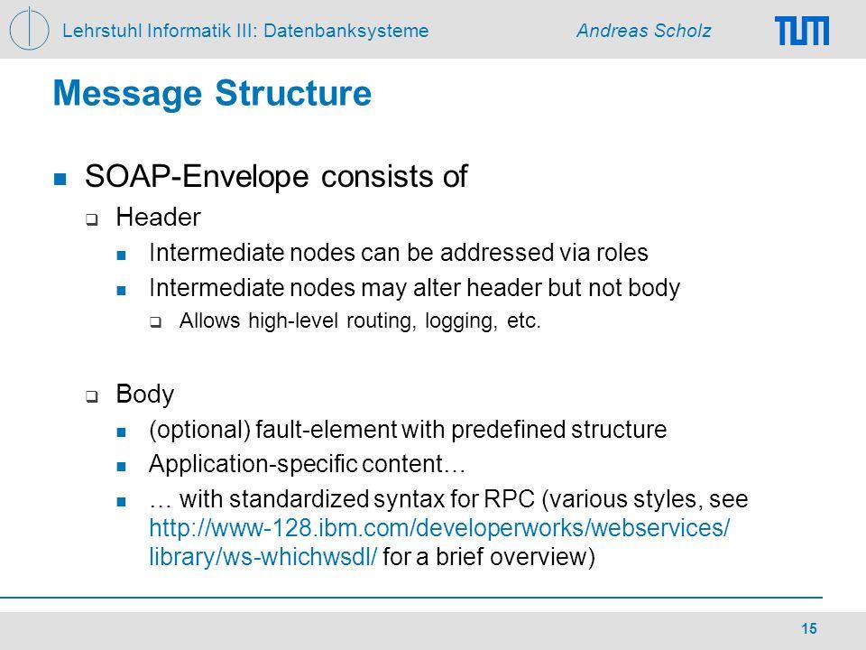 Lehrstuhl Informatik III: Datenbanksysteme Andreas Scholz 15 Message Structure SOAP-Envelope consists of Header Intermediate nodes can be addressed vi