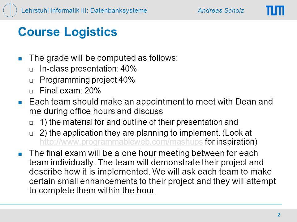 Lehrstuhl Informatik III: Datenbanksysteme Andreas Scholz 2 Course Logistics The grade will be computed as follows: In-class presentation: 40% Program