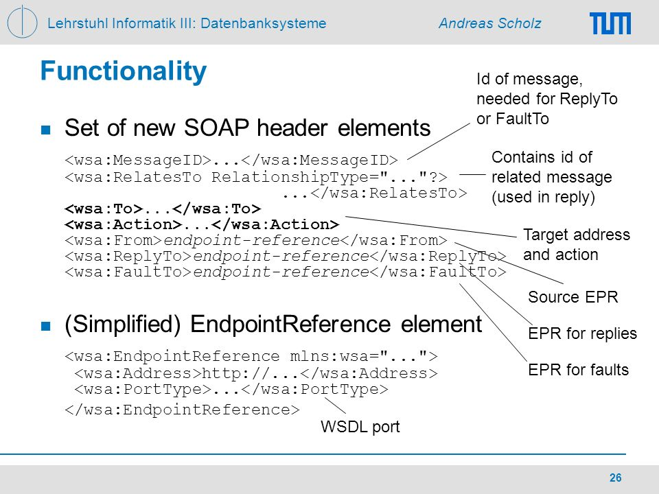 Lehrstuhl Informatik III: Datenbanksysteme Andreas Scholz 26 Functionality Set of new SOAP header elements............ endpoint-reference endpoint-ref
