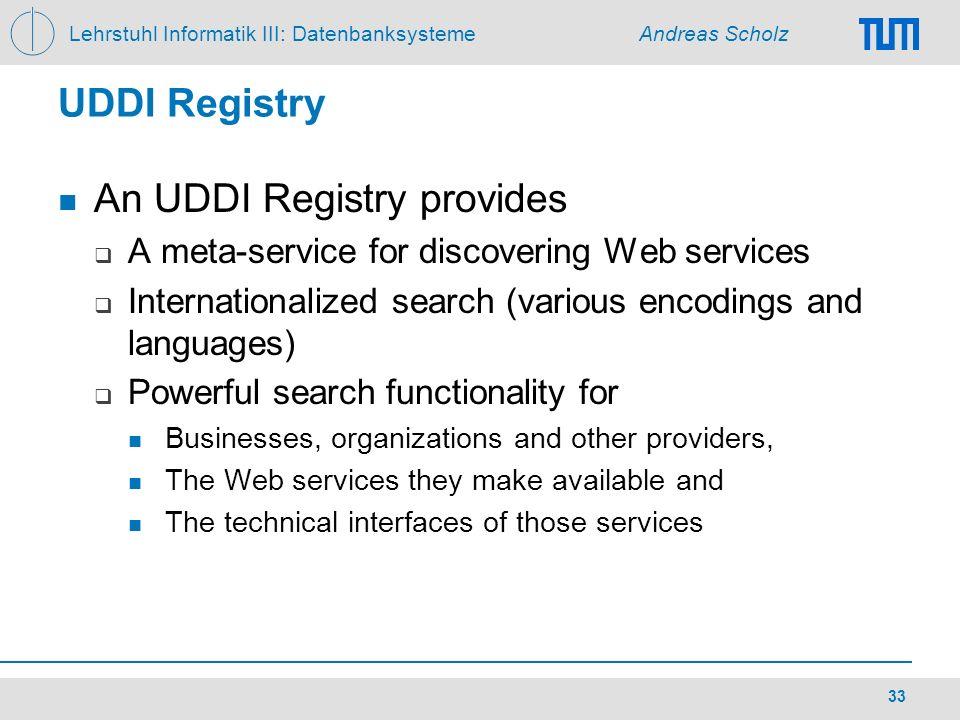 Lehrstuhl Informatik III: Datenbanksysteme Andreas Scholz 33 UDDI Registry An UDDI Registry provides A meta-service for discovering Web services Inter