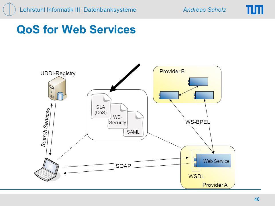 Lehrstuhl Informatik III: Datenbanksysteme Andreas Scholz 40 QoS for Web Services SAML WSDL SOAP UDDI-Registry Provider A Provider B WS-BPEL Web Servi