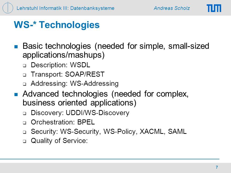 Lehrstuhl Informatik III: Datenbanksysteme Andreas Scholz 7 WS-* Technologies Basic technologies (needed for simple, small-sized applications/mashups)