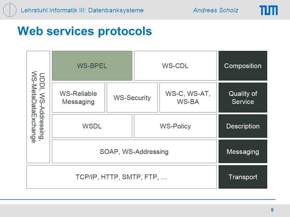 Lehrstuhl Informatik III: Datenbanksysteme Andreas Scholz 8 Web services protocols