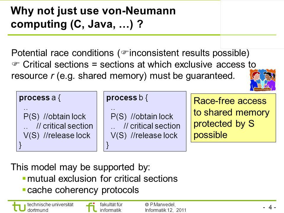 - 4 - technische universität dortmund fakultät für informatik P.Marwedel, Informatik 12, 2011 Why not just use von-Neumann computing (C, Java, …) .