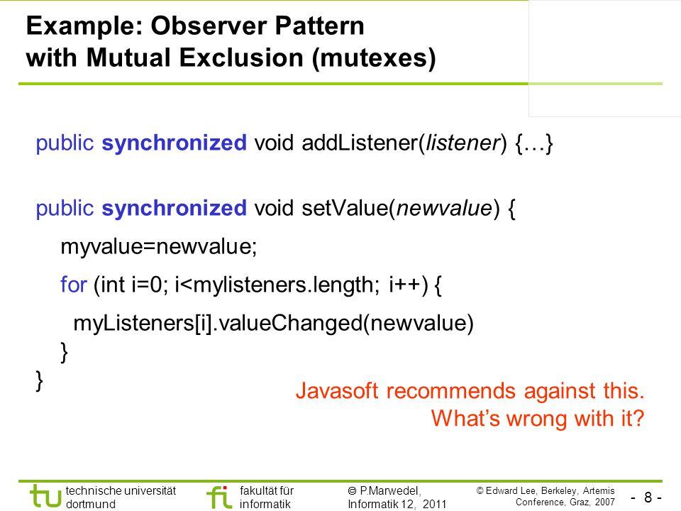 - 8 - technische universität dortmund fakultät für informatik P.Marwedel, Informatik 12, 2011 Example: Observer Pattern with Mutual Exclusion (mutexes) public synchronized void addListener(listener) {…} public synchronized void setValue(newvalue) { myvalue=newvalue; for (int i=0; i<mylisteners.length; i++) { myListeners[i].valueChanged(newvalue) } Javasoft recommends against this.