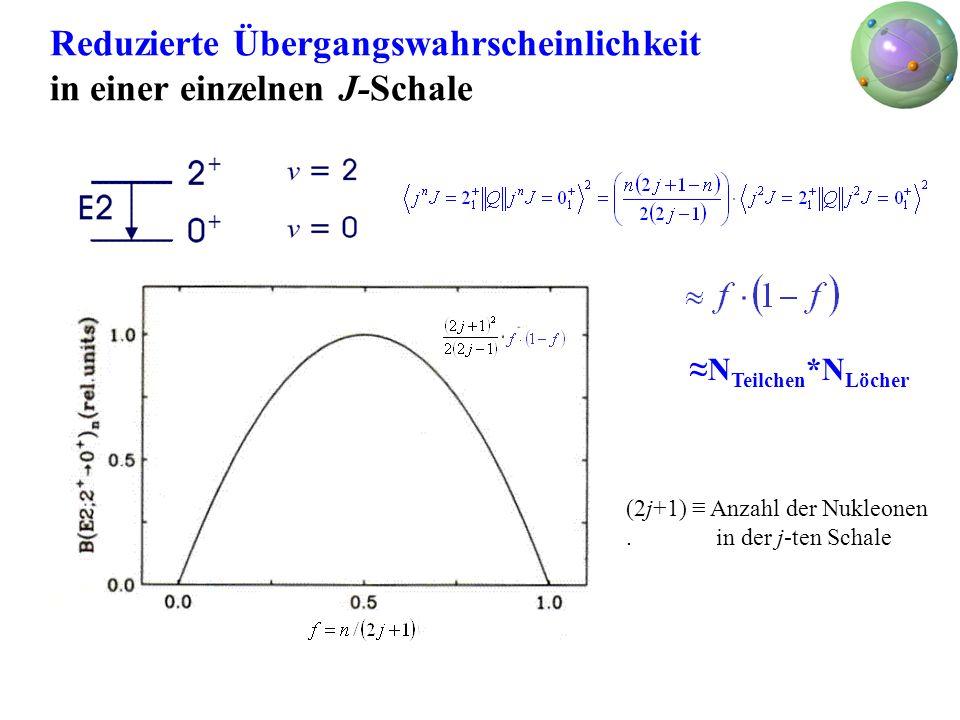 Reduzierte Übergangswahrscheinlichkeit in einer einzelnen J-Schale N Teilchen *N Löcher (2j+1) Anzahl der Nukleonen. in der j-ten Schale
