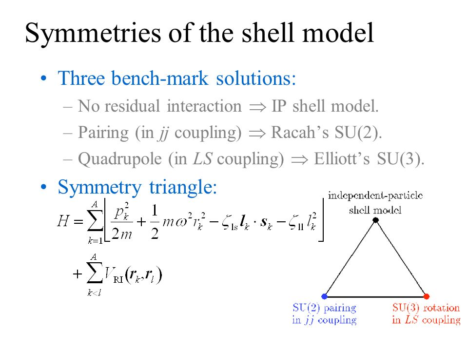 Symmetries of the shell model Three bench-mark solutions: –No residual interaction IP shell model. –Pairing (in jj coupling) Racahs SU(2). –Quadrupole