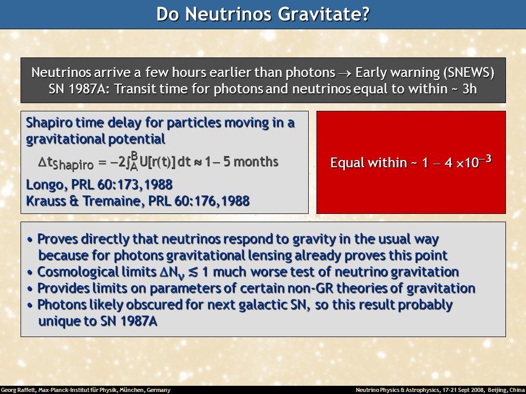 Georg Raffelt, Max-Planck-Institut für Physik, München, Germany Neutrino Physics & Astrophysics, 17-21 Sept 2008, Beijing, China Do Neutrinos Gravitat