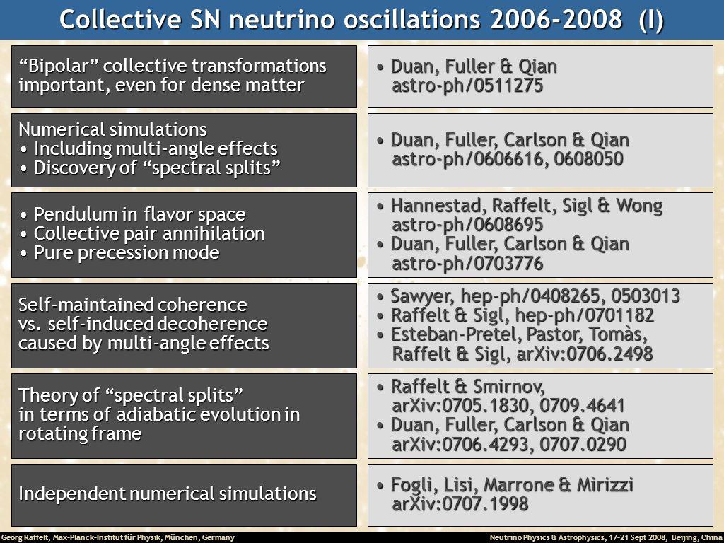 Georg Raffelt, Max-Planck-Institut für Physik, München, Germany Neutrino Physics & Astrophysics, 17-21 Sept 2008, Beijing, China Collective SN neutrin