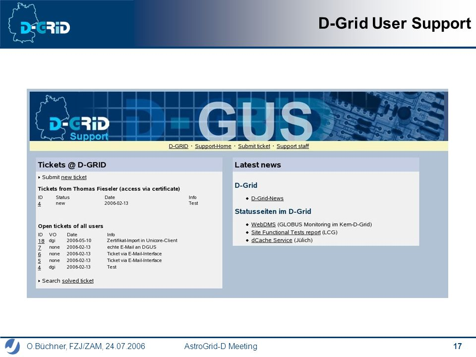 O.Büchner, FZJ/ZAM, 24.07.2006 AstroGrid-D Meeting 17 D-Grid User Support