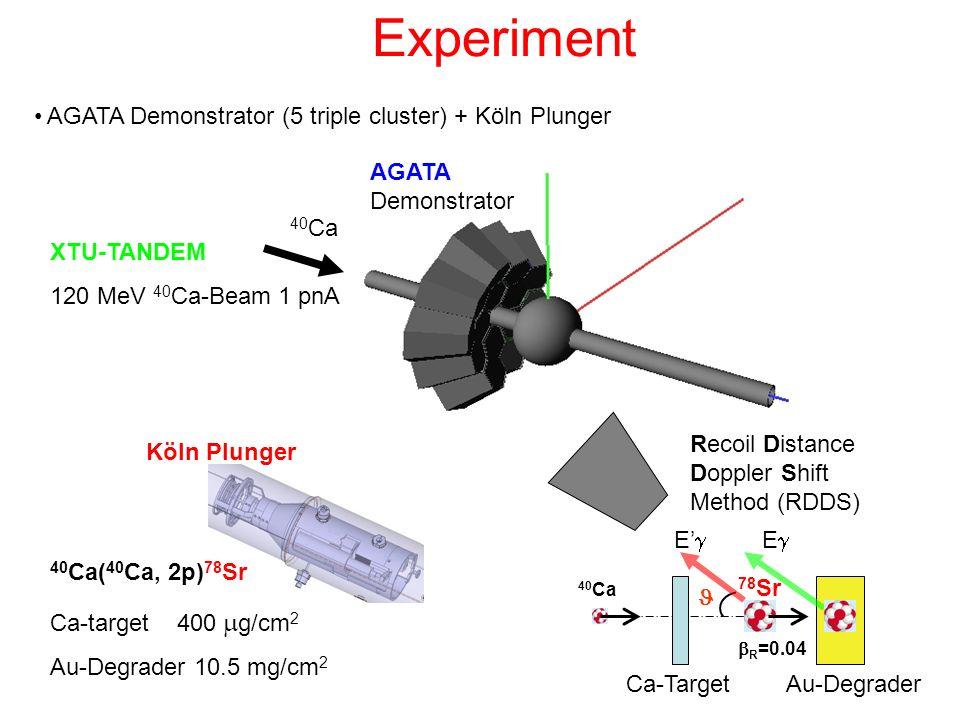 Experiment AGATA Demonstrator (5 triple cluster) + Köln Plunger XTU-TANDEM 120 MeV 40 Ca-Beam 1 pnA 40 Ca 40 Ca( 40 Ca, 2p) 78 Sr Ca-target 400 g/cm 2