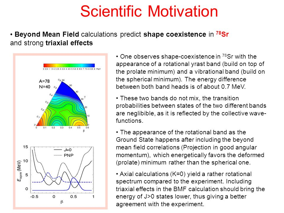 Scientific Motivation Beyond Mean Field calculations predict shape coexistence in 78 Sr and strong triaxial effects One observes shape-coexistence in