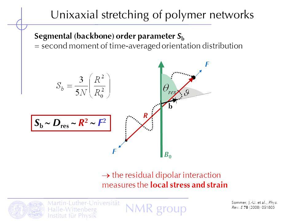 Martin-Luther-Universität Halle-Wittenberg Institut für Physik NMR group Unixaxial stretching of polymer networks Sommer, J.-U. et al., Phys. Rev. E 7