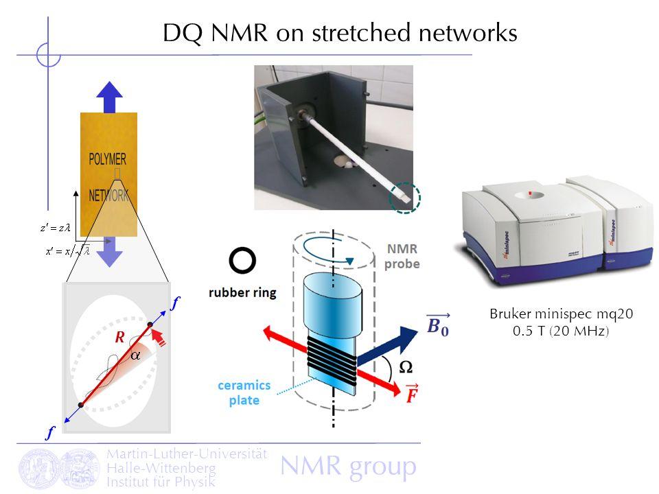 Martin-Luther-Universität Halle-Wittenberg Institut für Physik NMR group DQ NMR on stretched networks R f f Bruker minispec mq20 0.5 T (20 MHz)