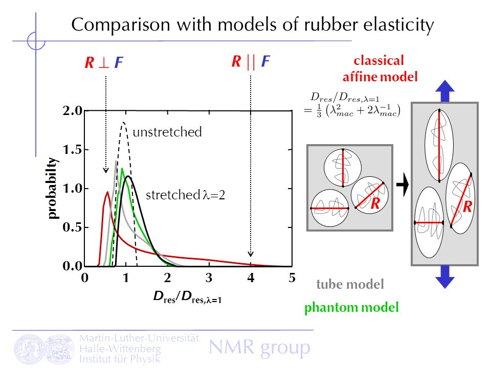 Martin-Luther-Universität Halle-Wittenberg Institut für Physik NMR group Comparison with models of rubber elasticity unstretched R F R || F R 2.0 1.5