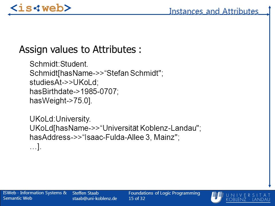ISWeb - Information Systems & Semantic Web Steffen Staab Foundations of Logic Programming 15 of 32 Instances and Attributes Schmidt:Student.