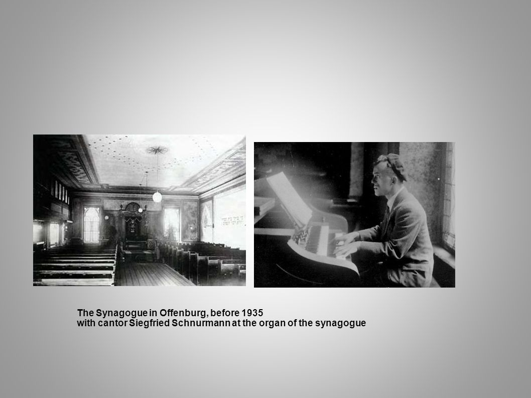 The Synagogue in Offenburg, before 1935 with cantor Siegfried Schnurmann at the organ of the synagogue