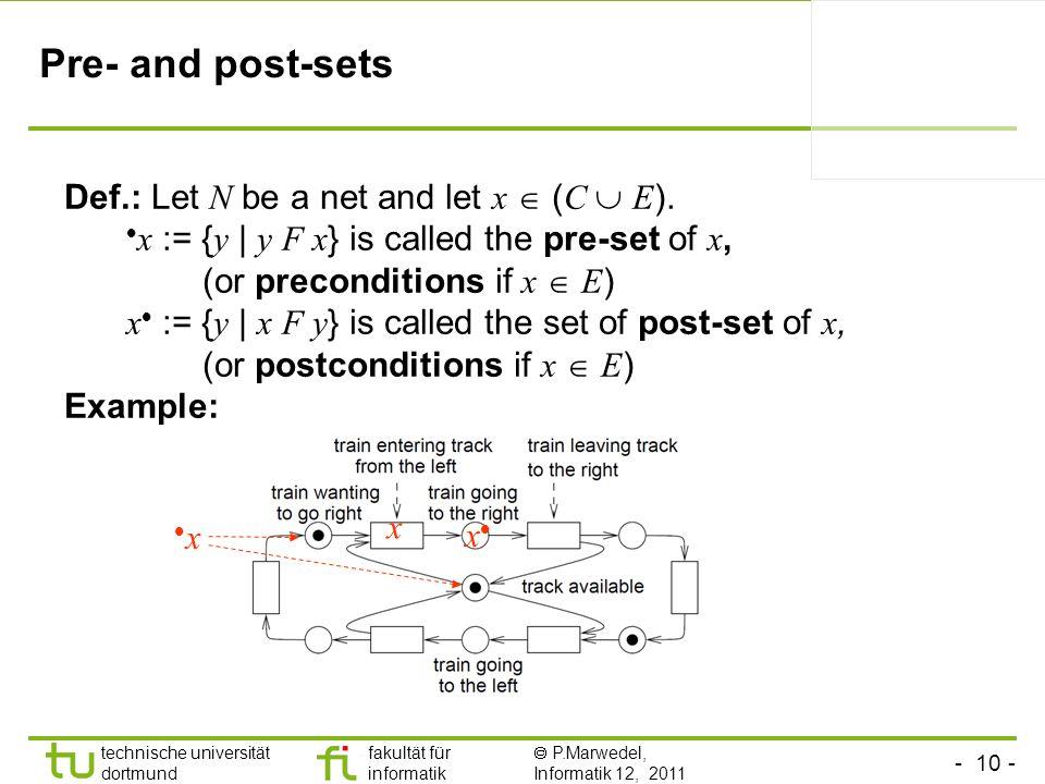 - 10 - technische universität dortmund fakultät für informatik P.Marwedel, Informatik 12, 2011 Pre- and post-sets Def.: Let N be a net and let x ( C E